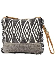 Myra Bag Second Impression Upcycled Canvas & Cowhide Leather Wristlet Pouch Bag S-1261