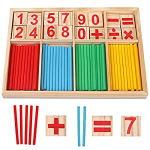 Camelize Wood Toy Counting Rods Mathematical Intelligence Sticks Wooden Number Cards Building Blocks gift for Kids…