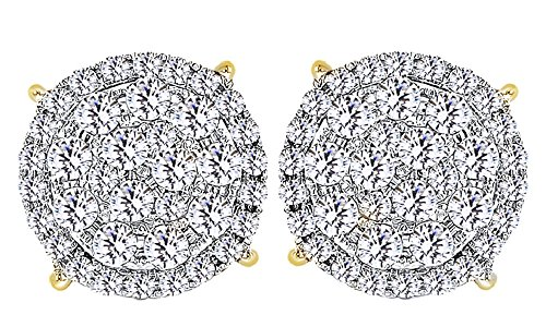 14K Solid Gold Round Cut White Natural Diamond Hip Hop Cluster Stud Earrings (1.78 Cttw) (Diamond Round 14k Yg Cut)