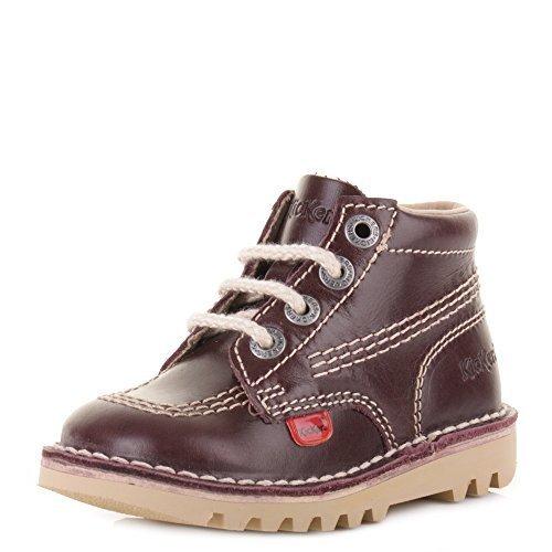 Kickers - bottes hautes enfants en cuir rouge foncéà lacets bottines décontracté - Rouge foncé, Cuir, 28