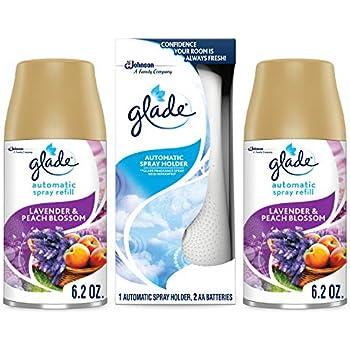 Glade Automatic Spray Holder Starter Kit, Air Freshener Spray and Refills, Lavender & Peach Blossom, Battery-Operated Holder for Automatic Spray Refill, 2 6.2 oz Refills