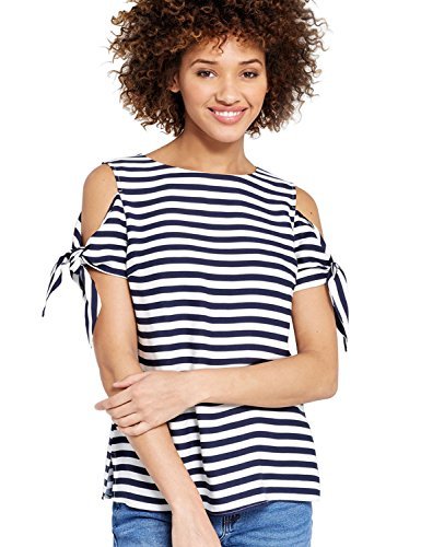 Large Product Image of Blooming Jelly Women's Tie Sleeve Side Split Cold Shoulder Striped T-Shirt Top