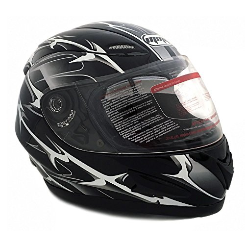 (Motorcycle Full Face Helmet DOT Street Legal +2 Visors Comes with Clear Shield and Free Smoked Shield (XXL, SPIKES)