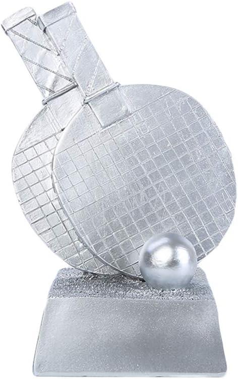 DYYPPWW Trofeo-Tenis de Mesa Trofeo de Oro, Plata y Bronce, artesanía de Resina, Trofeo de Campeonato, 25 cm de Alto-Silver