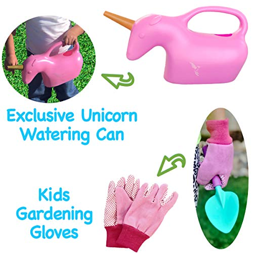 ROCA Home Kids Gardening Tools with Kids Gardening Gloves and Unicorn Watering Can- Unicorn Gifts for Girls – STEM…