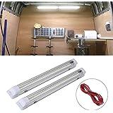Interior Lights Lamp Strip Bar for Car Van Bus Caravan (72 LEDs 12V-84V) with 2 Extension cord (2pcs)