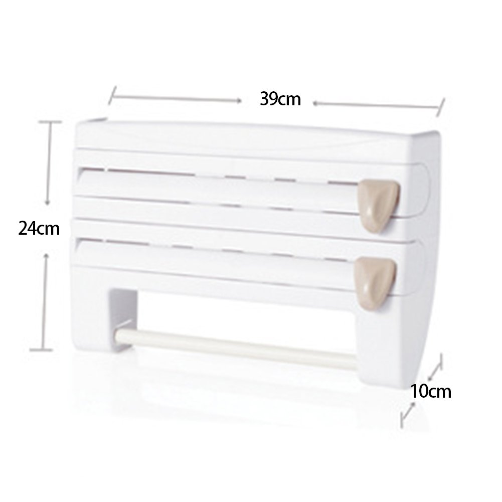 Dispensador de cocina montado en la pared con pel/ícula de adherencia 15.35*3.94*9.45inch blanco