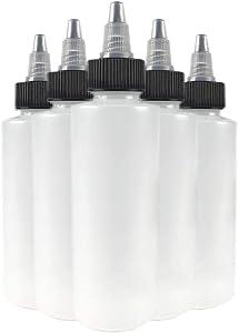 Hobbyland Squeeze Bottles, LDPE Plastic Bottles, Natural Cylinder Bottles, Black and Natural Twist Caps (4oz, 6 Bottles)