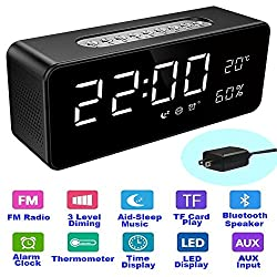"""Orionstar Aid Sleep Wireless Alarm Clock Radio Bluetooth Stereo Speaker HD Sound Repeat Snooze Function 8"""" LED Thermometer AUX MicroSD USB iPhone /Android Compatible Model S1 with Wall Charger Black"""