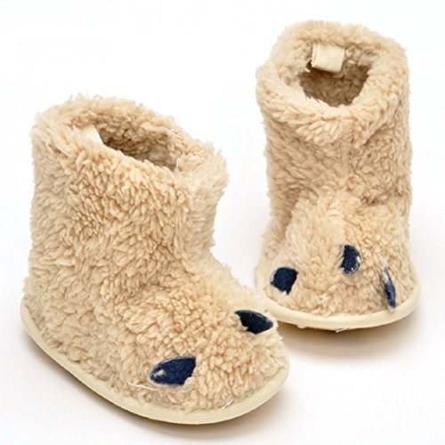 Ikevan Christmas Baby Girls Boys Soft Sole Snow Boots Soft Crib Shoes Toddler Shoes Boots Anti-slip Prewalker Shoes Toddler Boots Warm Winter 0-12 Months (0~4 Month, Beige)