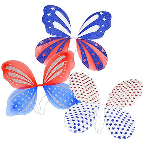 - Hobbeez Patriotic Fairy Wings for 4th of July (Set of 3 Assorted Styles)