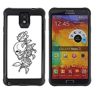 ZAKO CASES / Samsung Note 3 / Floral Rose Skull B&W / Robusto Prueba de choques Caso Billetera cubierta Shell Armor Funda Case Cover Slim Armor