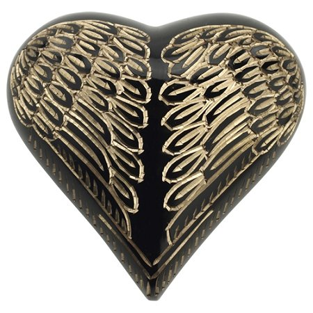 - Silverlight Urns Angel Wings Black & Gold Keepsake Urn, Heart Shaped Miniature Urn for Ashes, 3 Inches High, Brass