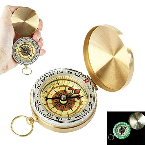 - Golden Pocket Compass Watch Mini Compasses Keychain for Directions, Survival Watch Compass Best Waterproof for Sailing, Kids Compass for Hiking Camping Hunting Climbing, Military Navigation Tool.