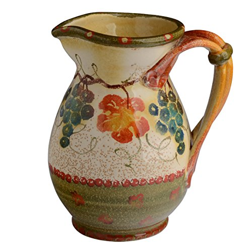 Modigliani Italian Countryside Pitcher with Handles w/Grape Vines & Leaves - Rich Earth Tones