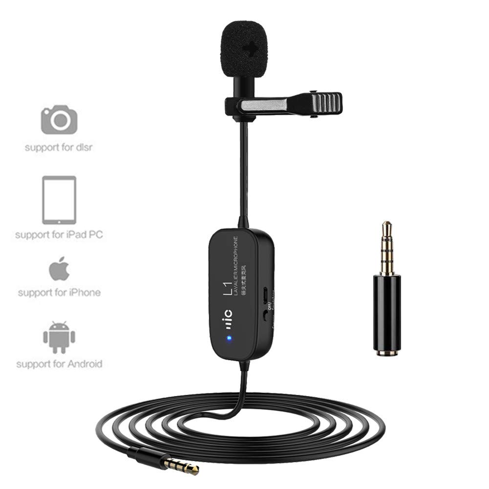 Rechargeable Lapel Lavalier Microphone Professional Omnidirectional Condenser Mic Cable 20 Feet 6M Clip-on Speaker Compatible iPhone Samsung Camcorder DSLR Camera PC Youtube Live Streaming Recording Vikerer