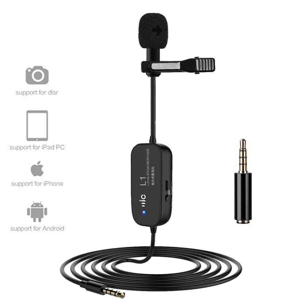 Micrófono recargable Lavalier Condensador omnidireccional profesional Cable de micrófono 20 pies 6M Altavoz con clip Com