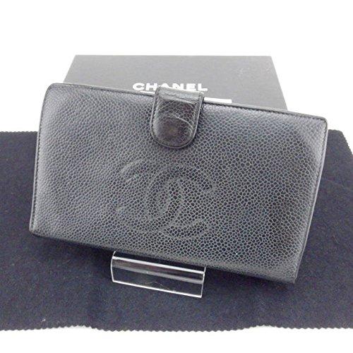 c88232ee0051 Amazon | (シャネル) Chanel 長財布 がま口 二つ折り ブラック×ゴールド キャビアスキン レディース 中古 Y3406 |  CHANEL(シャネル) | 財布