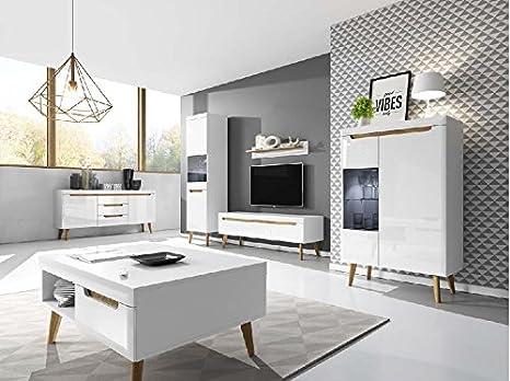 Muebles de salón Estilo nórdico Oslo - salón - Comedor - Vitrina - aparador - Mesa de Centro (Composición de Muebles de salón Oslo)