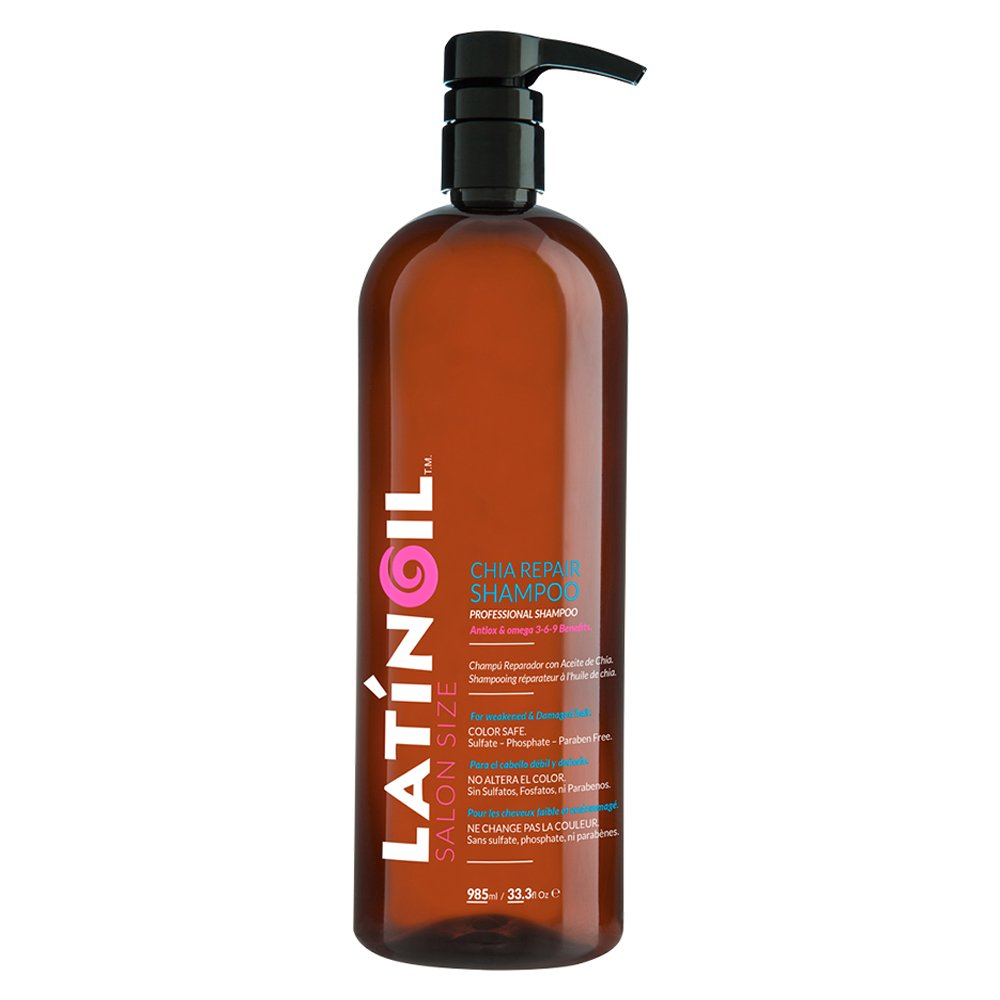LATINOIL Chia Repair Shampoo Sulfate-Free - Natural Product for Color Treated Hair, Oily, Dry, Colored, Blonde Gray Red Textured Curly Hair, Thicken the Hair No Salt & Alcohol Big Salon Size 33 Oz by Latinoil