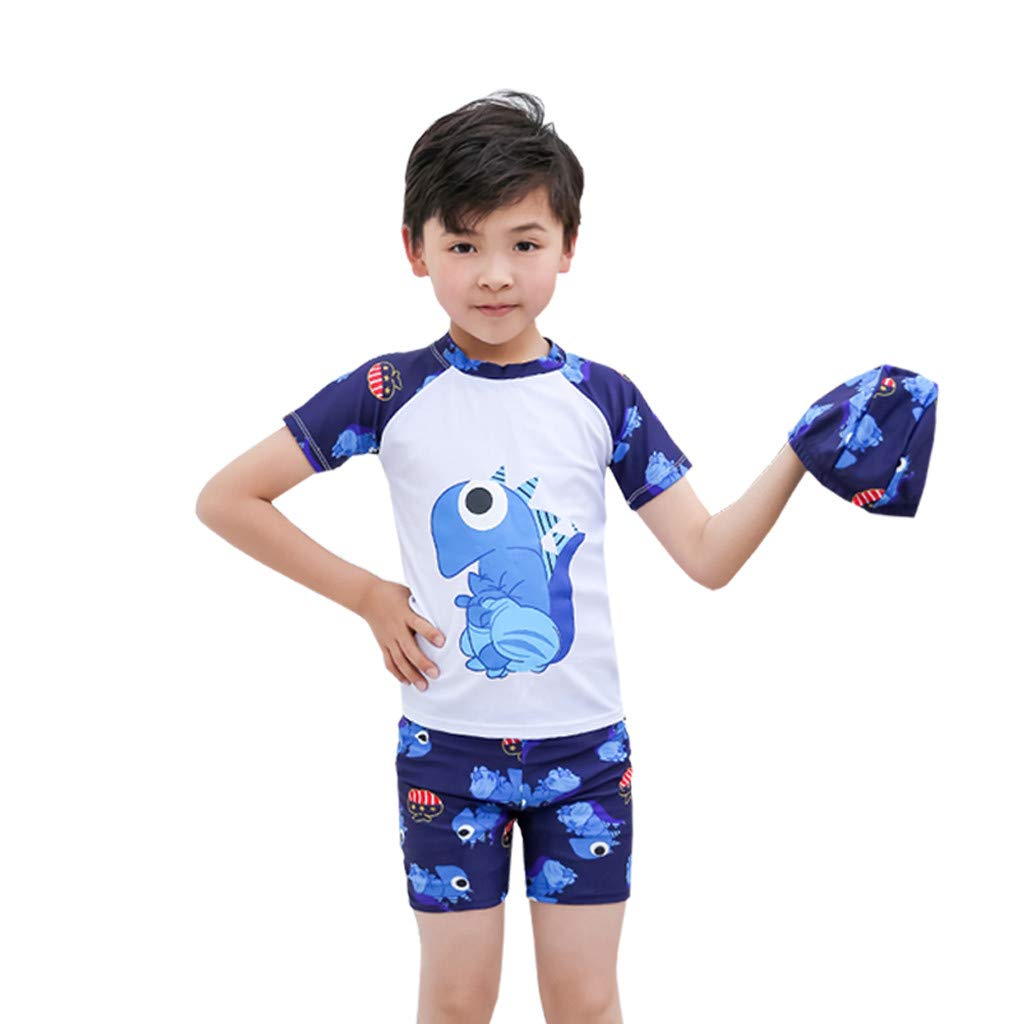 Baby Toddler Boys Dinosaur Rash Guard Swimsuit UV Sun Protective Short Sleeve Bathing Suit with Hat