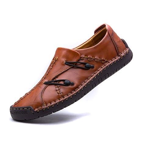 YAN Zapatos de Cuero para Hombres, Zapatos Casuales de Negocios Zapatos Casuales sin Mangas Mocasines
