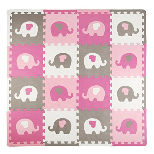 Tadpoles Baby Play Mat, Kid's Puzzle Exercise Play Mat - Soft EVA Foam Interlocking Floor Tiles, Cushioned Children's Play Mat, 16pc, Elephants, White/Hearts/Pink/Grey, 50x50