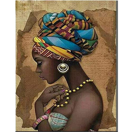 Aphila Diamond Painting Kits for Adults Round Drills Full Resin Rhinestones Embroidery Cross Stitch Decor Gift African Women 30x40cm/12x16