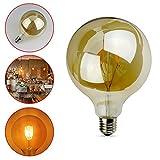 E27 LED Vintage Filament Bulb, G95 6W Antique Globe Edison LED, AC85-265V, Warm White 2700K 500LM, Gilded Glass Cover, 60W Incandescent Bulb Equivalent for Home Light Fixtures Decorative, 1 Pack