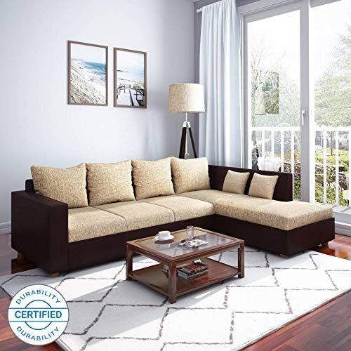 Westido Homes Artic Leatherette 4 Seater Sofa  Finish Color   Cream Brown