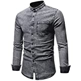 HTHJSCO Men's T-Shirt Top Blouse, Men's Distressed Solid Denim Cowboy Cut Work Western Long-Sleeve Shirt (Gray, XXL)