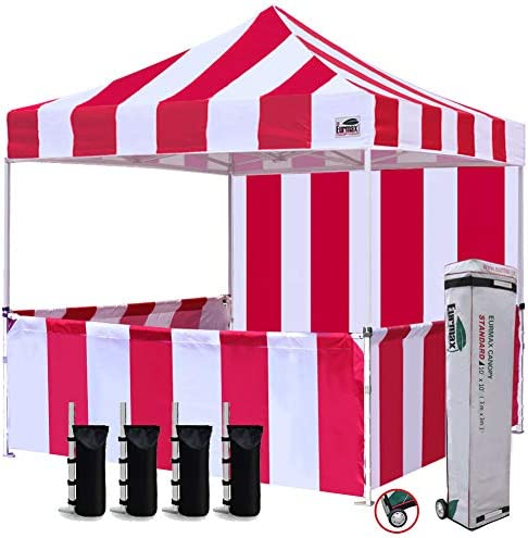 Eurmax 10 x10 Ez Pop-up Booth Canopy Tent Commercial Instant Tent with 1 Full Sidewall 3 Half Walls and Roller Bag, Bonus 4 SandBags 3 Cross-Bar Stripe Red White