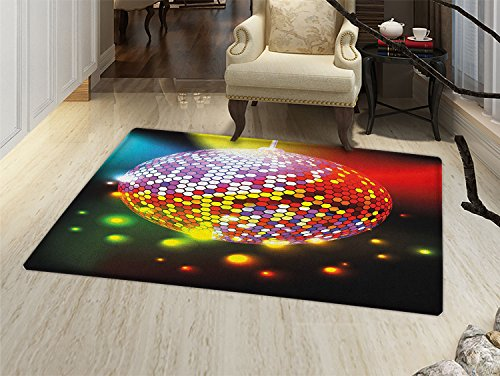 smallbeefly Popstar Party Door Mats Area Rug Vibrant Colorful Disco Ball Nightclub Celebration Party Dance and Music Print Floor mat Bath Mat for tub Multicolor