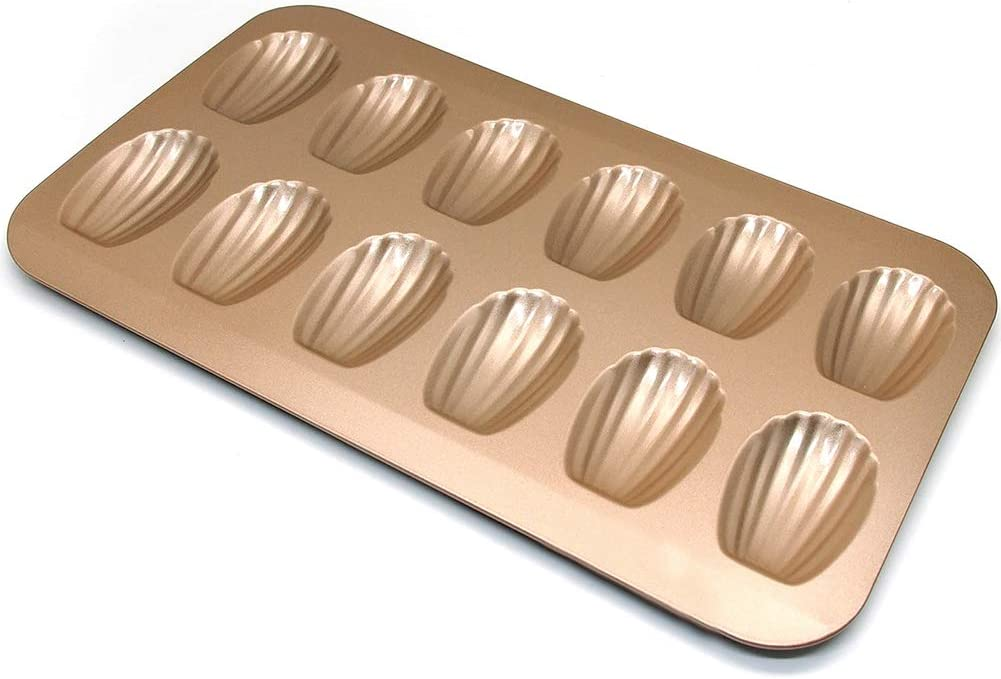 MeterMall Home Decor Gifts Stainless Steel Cake Mould Muffin Madeleine Pan 12-Cavity Baking Pans Tray Shell Shaped Nonstick Mold