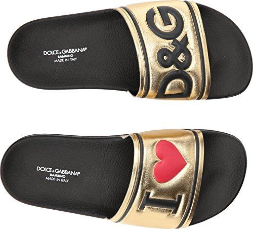 Dolce & Gabbana Kids Girl's Gold Slide (Big Kid) Gold 38 M - Gabbana Shoes Gold Dolce