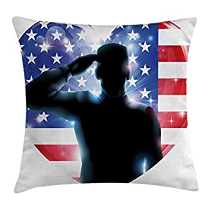 4th of July Decor Throw Pillow Cushion Cover by Ambesonne, Funny French Bulldog with Sunglasses in American Costume Hiding Graphic Art, Decorative Square Accent Pillow Case, 24 X 24 Inches, Multi
