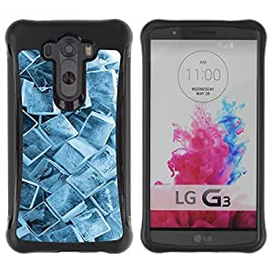 All-Round híbrido Heavy Duty de goma duro caso cubierta protectora Accesorio Generación-II BY RAYDREAMMM - LG G3 - Ice Cube Crystals Snow Winter Pattern Cool