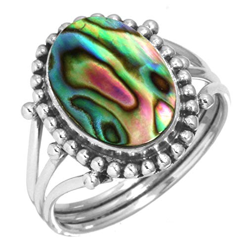 Natural Abalone Shell Ring 925 Sterling Silver Handmade Jewelry Size 5.5