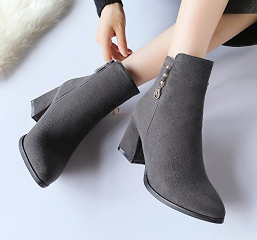 Pointed Comfy Frosted Faux Women's Toe Shoes Aisun Martin Gray Zipper Boots x4qAaTIOw