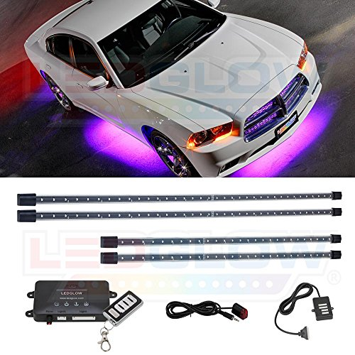 LEDGlow 4pc Purple LED Underbody Underglow Car Light Kit - Includes Wireless Remote - Music Mode - Clear Angled Mounting Brackets