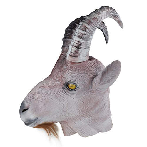 COMLZD Halloween Latex Full Overhead Masks Rubber Goat Antelope Animal Head Masks Party Costumes -