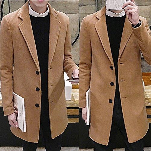 - Toimothcn Men Single Breasted Pea Coat Formal Business Blazer Suit Long Jacket Outwear (Khaki,XXL)