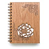 Peonies Laser Cut Wood Journal (Notebook/Birthday Gift/Gratitude Journal/Handmade)