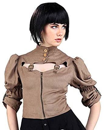 Steampunk Tops | Blouses, Vests, Crops, Shrugs Steampunk Victorian Moire Tie-back Blouse $62.95 AT vintagedancer.com