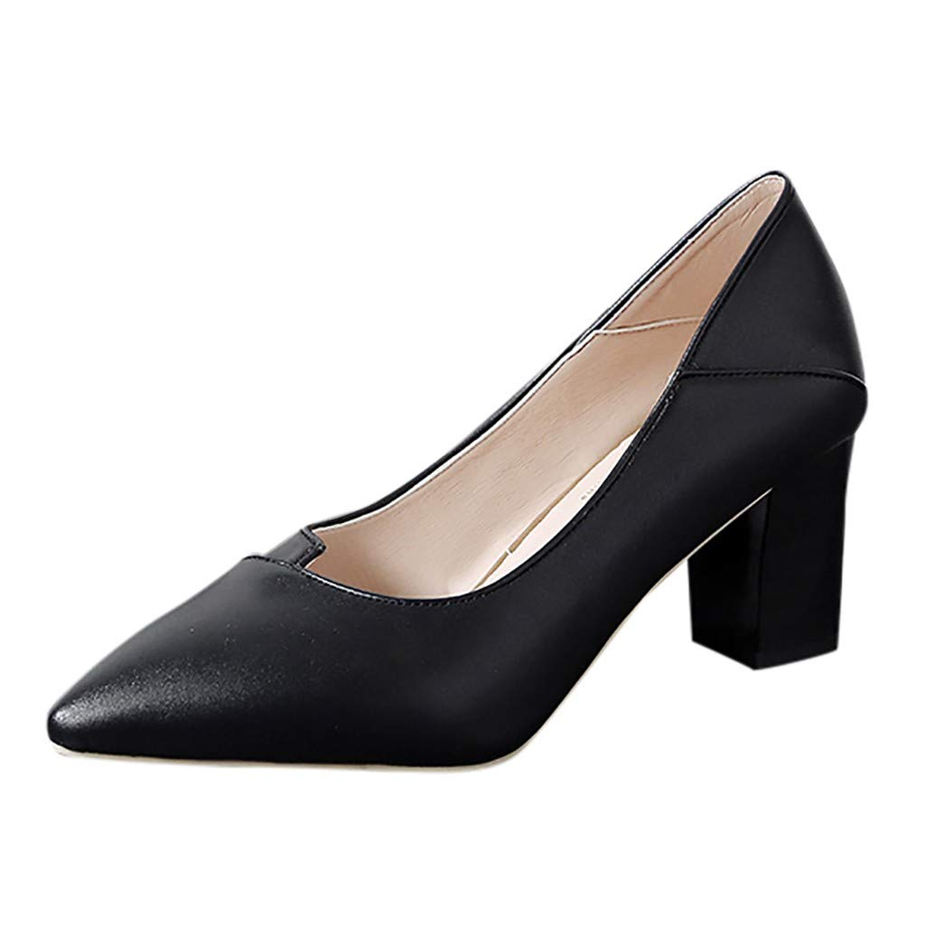 ZOMUSA Fashion Ladies Thick with High Heel Pointed Shoes Single Shoes Business Shoes Black