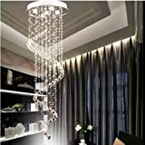 Nilight® 150cm Spiral LED Crystal Pendant Lamp Ceiling Light Rain Drop Chandelier
