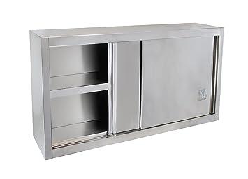 Beeketal \'BWS100\' Gastro Küchen Wandhängeschrank aus Edelstahl mit auf  Rollen gelagerte Schiebetüren, Hängeschrank mit fest verbautem Einlegeboden  - ...