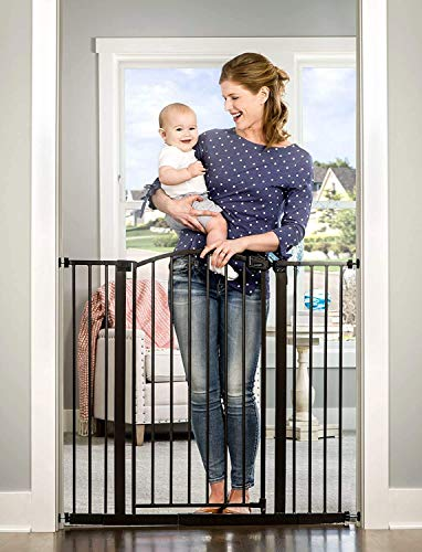 Regalo Easy Step Extra Tall Arched D cor Walk Thru Baby Gate, Includes 4-Inch Extension Kit, 4 Pack Pressure Mount Kit and 4 Pack Wall Mount Kit, Bronze