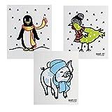 Wet-It Swedish Dishcloth Set of 3 (Cute Animals in Winter)