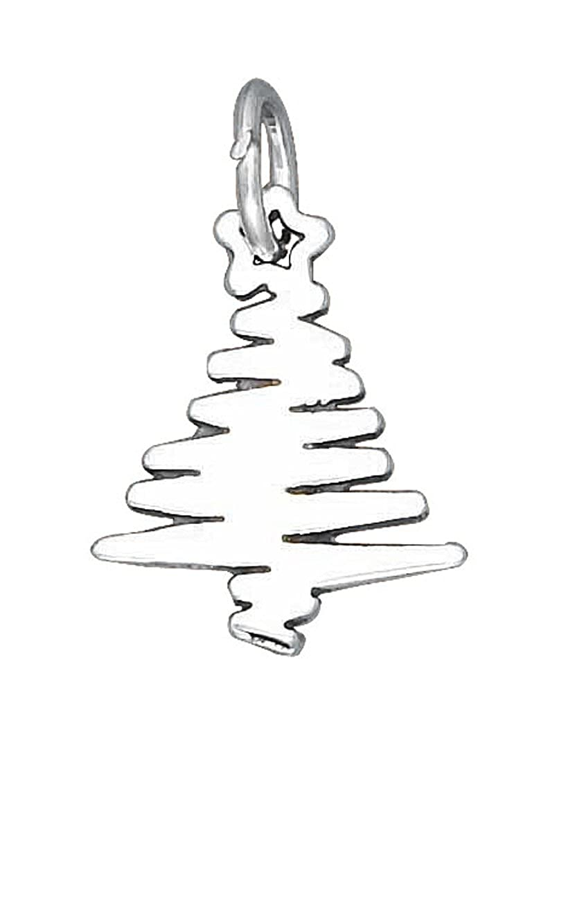 Sterling Silver Girls .8mm Box Chain Squiggle Christmas Tree Pendant Necklace